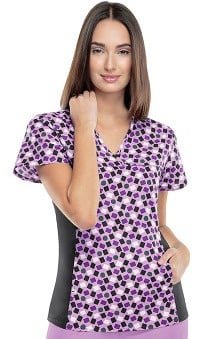 Flexibles by Cherokee Women's V-Neck Geometric Print Scrub Top