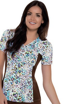 Flexibles by Cherokee Women's V-Neck with Contrast Side Panels Love me Fur-Ever Print Scrub Top