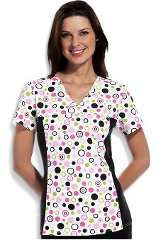 Flexibles by Cherokee Women's V-Neck 2-Pocket Tunic with Contrast Side Panels Polka Dot Print Scrub Top