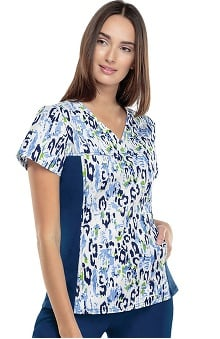 Clearance Flexibles by Cherokee Women's V-Neck 2-Pocket Tunic with Contrast Side Panels Print Scrub Top