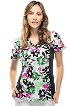 Flexibles By Cherokee Women's V-Neck Frog Print Scrub Top