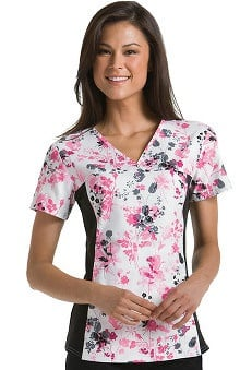 Flexibles by Cherokee Women's V-Neck 2-Pocket Tunic with Contrast Side Panels Botanical Print Scrub Top