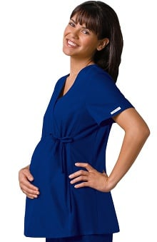 sale: Flexibles by Cherokee Women's Maternity Mock Wrap With Stretch Side Panels Solid Scrub Top