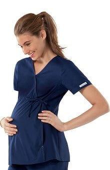 Flexibles by Cherokee Women's Maternity Mock Wrap With Stretch Side Panels Solid Scrub Top