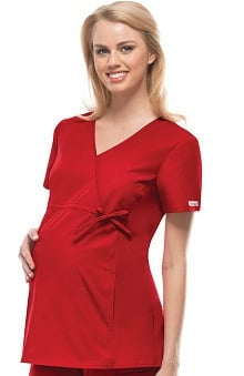Clearance Flexibles by Cherokee Women's Maternity Mock Wrap With Stretch Side Panels Solid Scrub Top