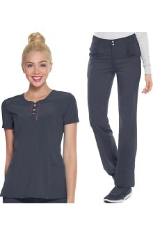 Shine On! by heartsoul Women's Round Neck Scrub Top & Low Rise Scrub Pant Set