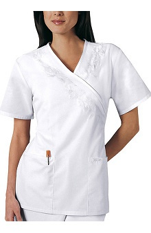 Cherokee Women's Professional Whites Embroidered Mock Wrap Tunic Solid Scrub Top