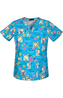 Cherokee Women's V-Neck Cartoon Print Scrub Top