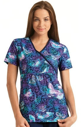 Flexibles by Cherokee Women's Mock Wrap Butterfly Print Scrub Top