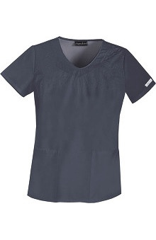 Clearance Cherokee Women's V-Neck Embroidered Solid Scrub Top
