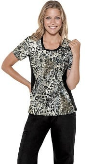 Flexibles by Cherokee Women's Jewel Neck On The Prowl Print Scrub Top