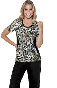 Clearance Flexibles by Cherokee Women's Jewel Neck On The Prowl Print Scrub Top