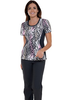Clearance Flexibles by Cherokee Women's Jewel Neck Wild World Print Scrub Top