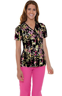Flexibles by Cherokee Women's Mock Wrap Art-Rageous Print Scrub Top
