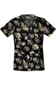 Flexibles by Cherokee Women's Mock Wrap Bloom Service Print Scrub Top