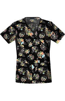 Clearance Flexibles by Cherokee Women's Mock Wrap Bloom Service Print Scrub Top