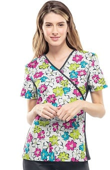 Clearance Flexibles by Cherokee Women's Mock Wrap Floral Print Scrub Top