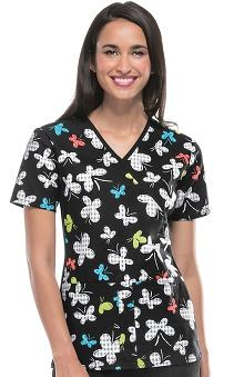 Flexibles by Cherokee Women's Flexibles Mock Wrap Butterfly Print Scrub Top