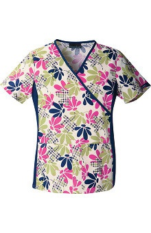 Flexibles by Cherokee Women's Mock Wrap Botanical Print Scrub Top