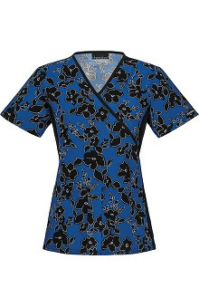 Flexibles by Cherokee Women's Flexibles Mock Wrap Out of The Bloom Print Scrub Top