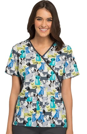 Flexibles by Cherokee Women's Mock Wrap Pets Print Scrub Top