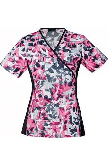 Flexibles by Cherokee Women's Mock Wrap Floral Print Scrub Top