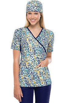 Flexibles by Cherokee Women's Mock Wrap You're So Wild Print Scrub Top