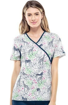 Flexibles by Cherokee Women's Mock Wrap Animal Print Scrub Top