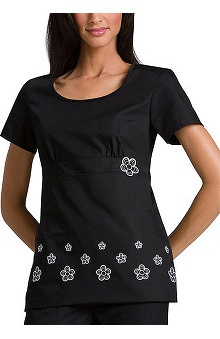 Cherokee Women's Black Daisy Boarder Print Scrub Top