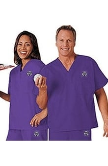 unisex tops: Cherokee Unisex Team Solid Scrub Top