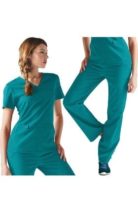 Flexibles by Cherokee Women's V-Neck Scrub Top & Cargo Pant Set