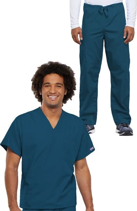 Cherokee Workwear Unisex Durable V-Neck Top & Drawstring Pant Scrub Set