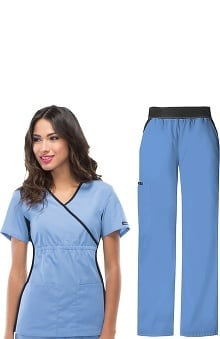 Flexibles by Cherokee Women's Mock Wrap Scrub Top &Amp; Cargo Scrub Pant Set