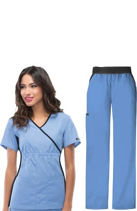 Flexibles by Cherokee Women's Mock Wrap Scrub Top & Cargo Scrub Pant Set
