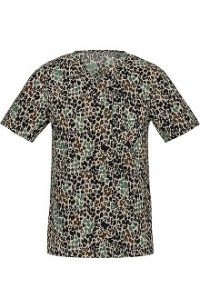 Clearance Cherokee Unisex V-Neck Animal Print Scrub Top