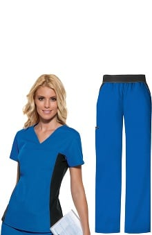 Flexibles by Cherokee Women's V-Neck with Contrast Knit Side Panels Scrub Top & Cargo Pant Set
