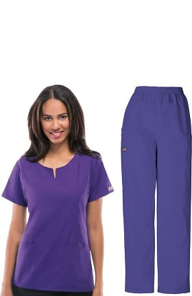 Cherokee Workwear Originals Women's Round Neck Scrub Top & Cargo Scrub Pant Set