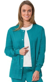Clearance WW Flex by Cherokee Workwear with Antimicrobial Certainty Unisex Snap Front Warm Up Solid Scrub Jacket