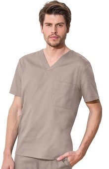 Clearance WW Flex by Cherokee Workwear with Certainty Antimicrobial Fabric Technology Unisex Chest Pocket V-Neck Solid Scrub Top