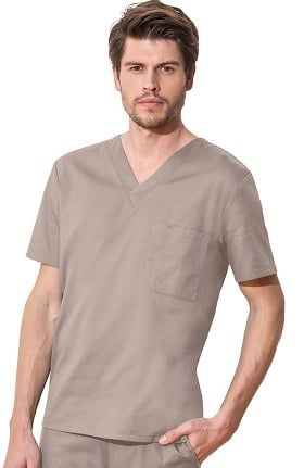 Clearance WW Flex by Cherokee Workwear Unisex Chest Pocket V-Neck Solid Scrub Top