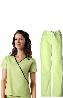 Cherokee Workwear Women's Mock Wrap Scrub Top &Amp; Drawstring Scrub Pant Set