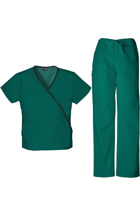 Cherokee Workwear Originals Women's Mock Wrap Scrub Top & Drawstring Scrub Pant Set