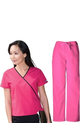 Cherokee Workwear Women's Mock Wrap Scrub Top & Drawstring Scrub Pant Set