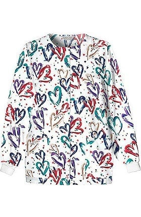 Cherokee Women's Crew Neck Warm Up Heart Print Scrub Jacket