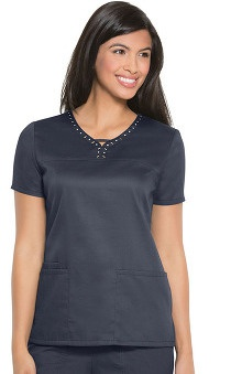 Runway by Cherokee Women's Keyhole V-Neck Solid Scrub Top