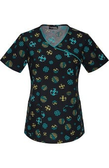 Clearance Runway by Cherokee Women's Mock Wrap Hound and Round Print Scrub Top