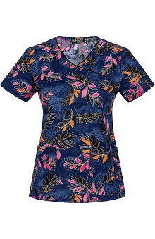 Runway by Cherokee Women's Mock Wrap Tropical Print Scrub Top