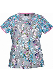 Clearance Runway by Cherokee Women's Round Neck Flower Print Scrub Top