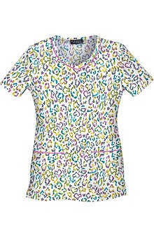 Runway by Cherokee Women's V-Neck Snake, Rattle, & Roll Print Scrub Top