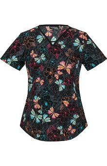 Runway by Cherokee Women's V-Neck Butterfly Print Scrub Top